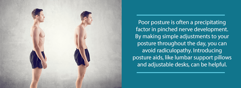 poor posture leading to pinched nerve vs. correct posture