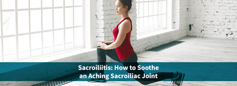 woman performing stretch for sacroiliitis